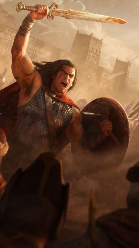 Conan Unconquered Mobiele Verticaal achtergrond