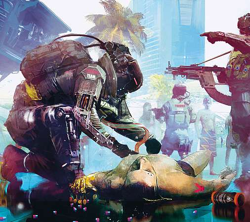 Cyberpunk 2077 Mobiele Horizontaal achtergrond