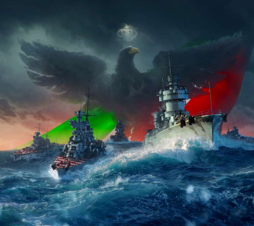 World of Warships Mobiele Horizontaal achtergrond